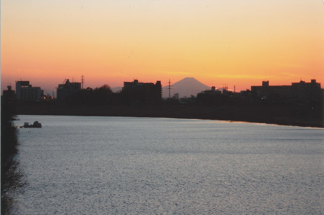 Mt. Fuji from the Bank of Edogawa River