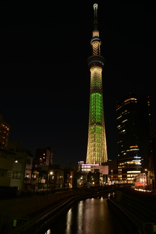 Tokyo Skytree with 'Champagne Tree' lighting
