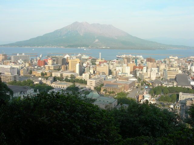 Mt. Sakurajima, view from Shiroyama Observation Deck