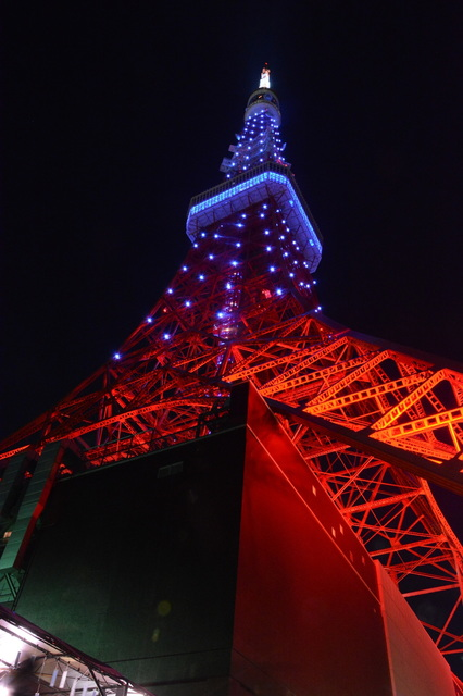 Tokyo Tower illuminated with Diamond Veil(Aqua blue)