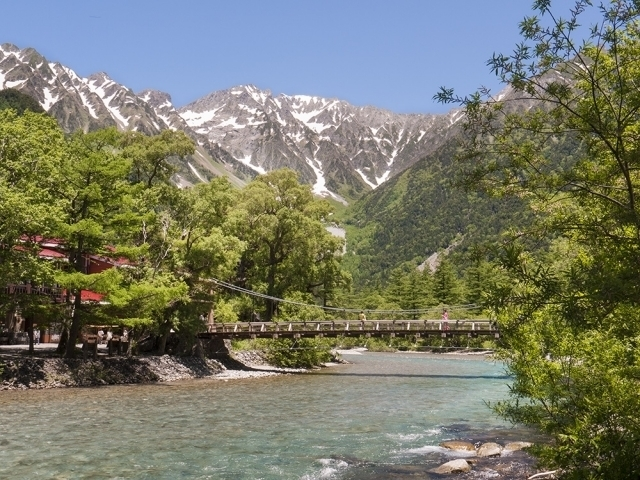Kappa Bridge over Azusa-gawa River and Mt. Hotaka